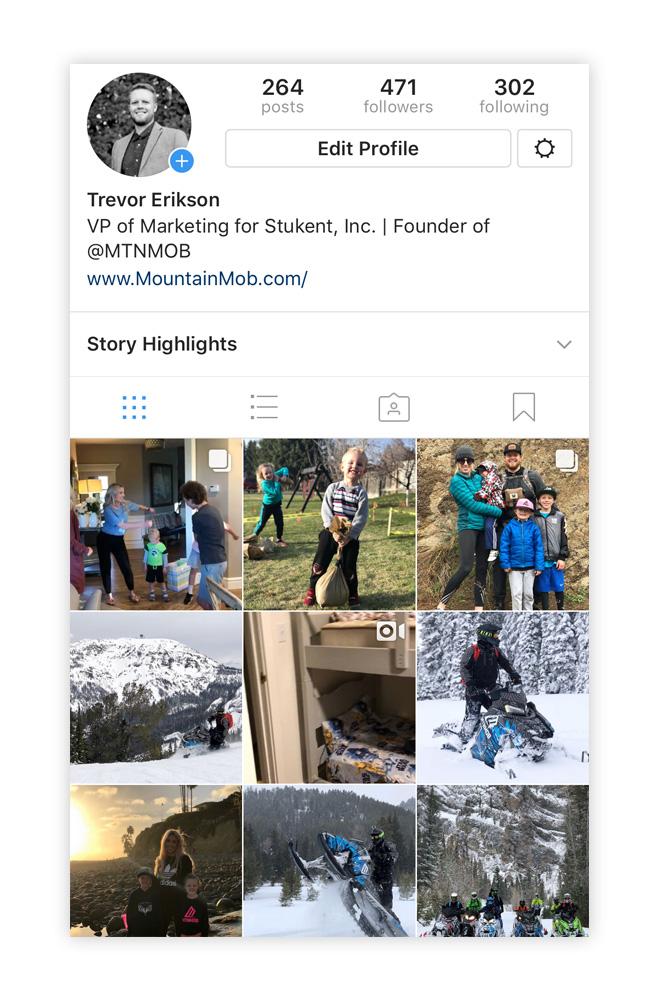 Trevor Erikson Instagram profile